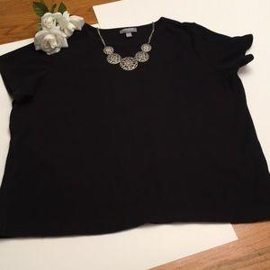 Plus Size Classic Short Sleeve Black Sweater